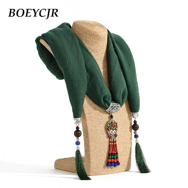 Boeycjr 7 colors available tassel chinese scarf pendant necklace boeycjr 7 colors available tassel chinese scarf pendant necklace handmade ethnic jewelry vintage stone necklaces for aloadofball Image collections