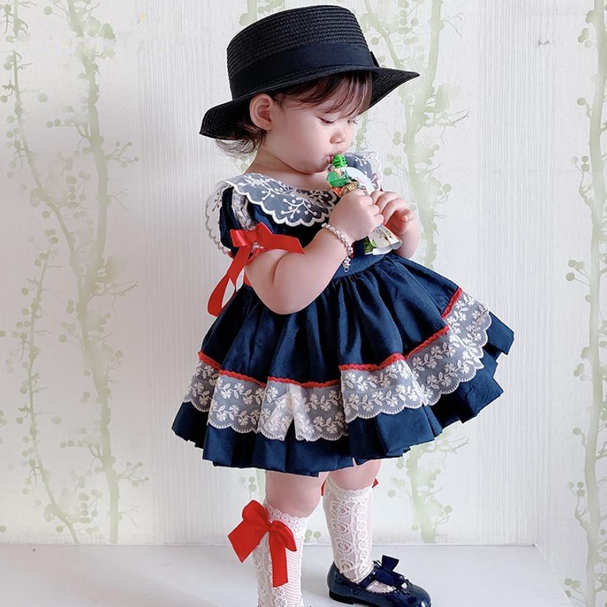 4PCS 2019 Summer Spanish Lolita Dress For Girl Short Sleeve Navy Princess Dress Baby Birthday Party