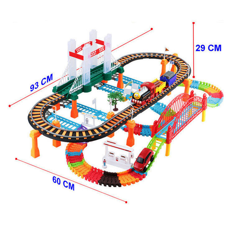 Car Racing Magical Track City High Speed Rail Electric Highway Multilayer Interchangeable Track Race Driving Toys For Children