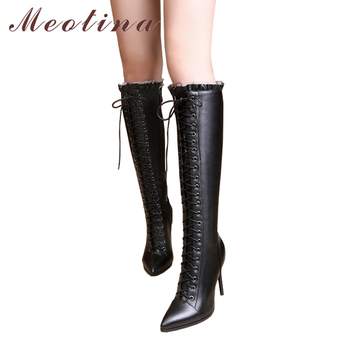 Meotina 2018 Genuine Leather Thin High Heels Boots Women Knee High Boots Winter Sexy Ruffles Lace Up Handmade Shoes Black 40