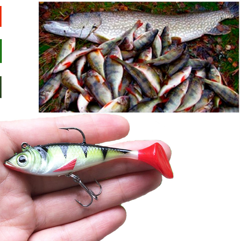 1pcs Soft Lead Fish  8cm/10.5g T Shape Tail Fishing Bait Lures With 2 Hooks Fly Fishing Lure