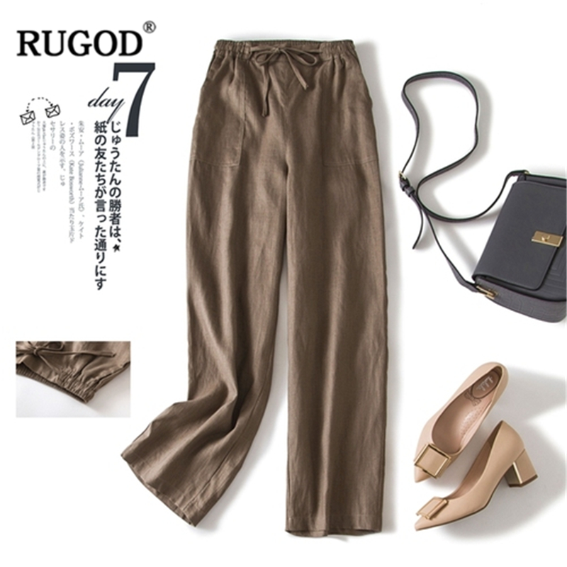 RUGOD 2019 New Arrival Women Simple Long Straight Pants Cutton And Linen Soft Loose Solid Trousers Casual Gentle Stylish штаны
