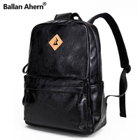 New Arrivals Men PU Leather Backpack For 15 6inches Laptop Backpack Large Capacity Casual Style Bag
