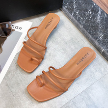 Slip On High Heels Sandals Women Colorful Slippers Ladies Summer Shoes 2019 New Classics Strap
