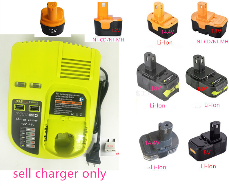 100-240V Charger for Ryobi P117 P131 P100 P101 P102 P103 P104 P105 P106 P107 12V 14.4V 18V NI-CD NI-MH Li-ion Battery 18v 5000mah li ion battery for ryobi p108 p107 p106 p105 p104 p103 p102 power tool battery high quality