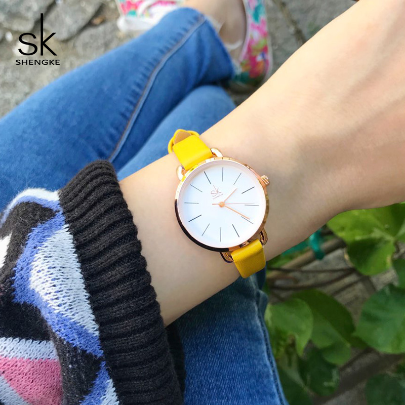 Shengke 2018 New Fashion Women Watches Simple Dial Ladies Quartz Watch Relogio Feminino SK Women Casual Leather Watches #K8021 shengke top brand quartz watch women casual fashion leather watches relogio feminino 2018 new sk female wrist watch k8028