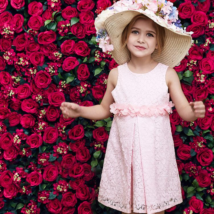 2016 Kids Quality Party Dress Flower Girls Pink Lace Wedding Dresses Baby Girls Summer Princess Sofia Dress Children Clothes