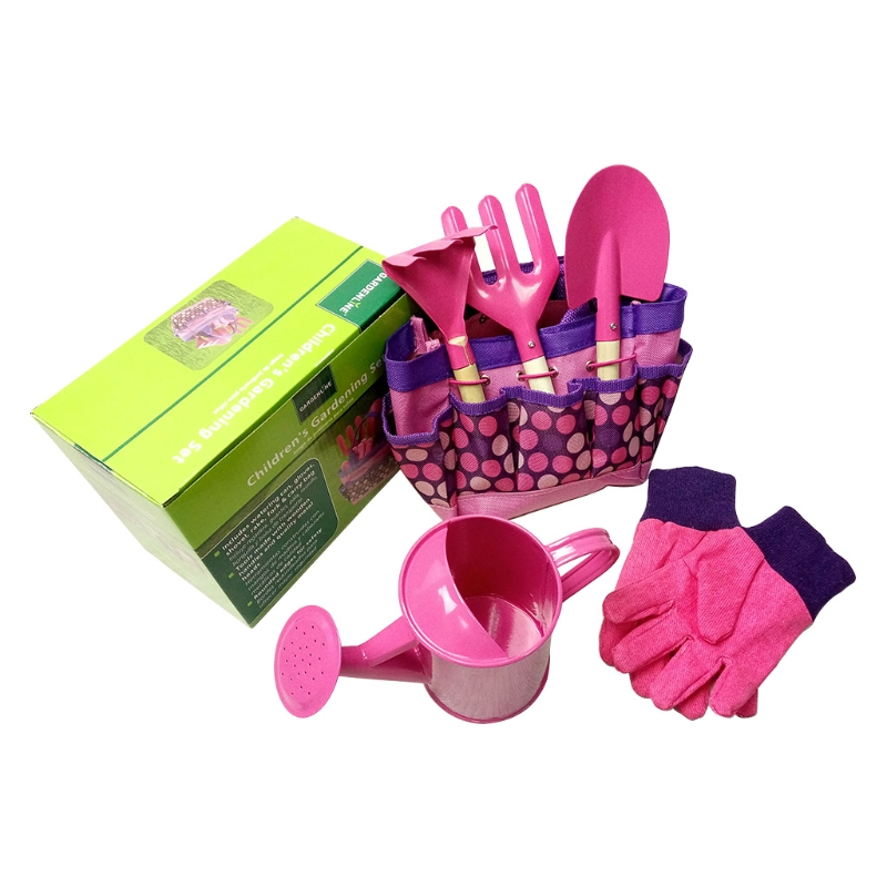 Little Gardener Tool Set With Bag Kids Children Gardening Boys Girls Gift Toys Pink