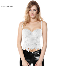 Charmian Plus Size Sexy Floral Lace Bustier Black or White Clubwear Party Crop Bra Corset Top for Women