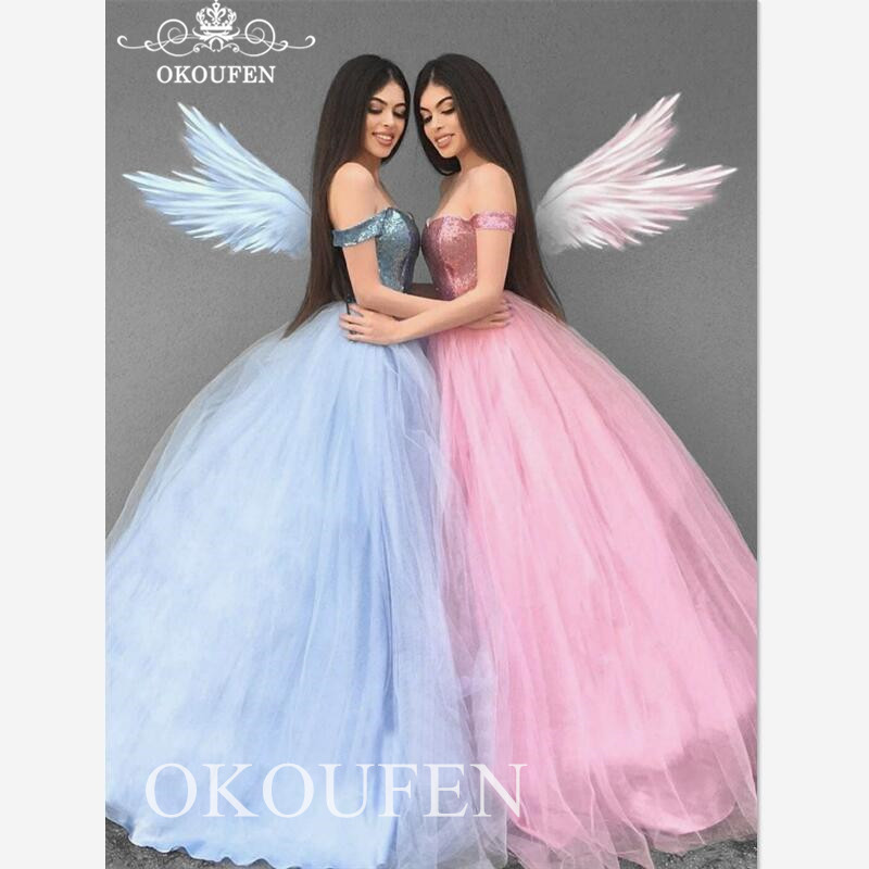 2020 Off Shoulder Quinceanera Dresses Sequined Top And Tulle Skirt Long Puffy A Line Vestidos De 15 Anos  Sweet 16 Prom Dress