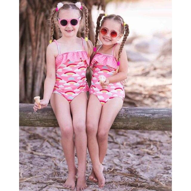 80b2f4eb85dae Cute Baby Kid Girl Ruffle Rainbow Swimwear One Piece Bikini 2018 Swimsuit  Monikini Swimming Costume Children Bathing Suit 1-5T