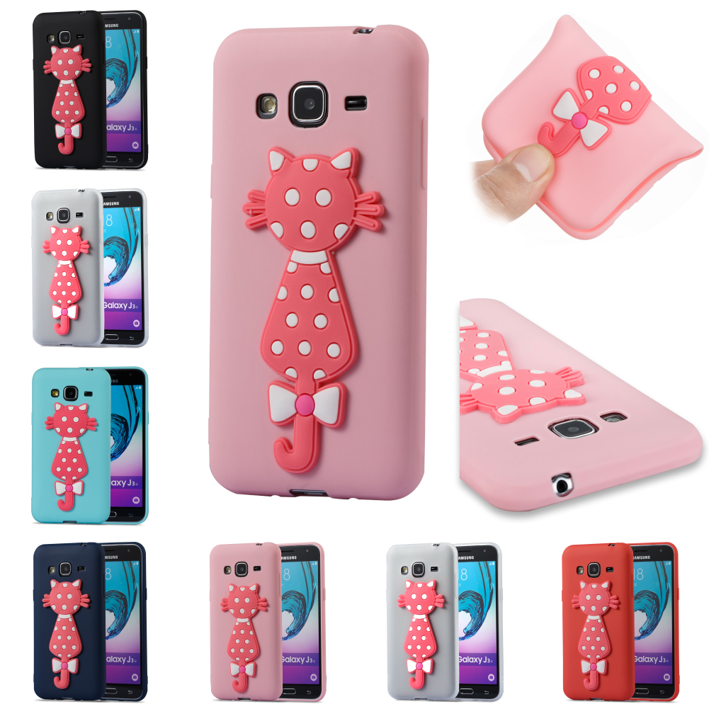 TPU Cartoon Silicone 3D Cat Cute Kryty Shell Phone Case Cover Bag For Samsug Sumsung Samsung Galax Galaxy J3 2016