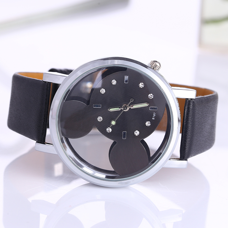 Relojes Mujer Classic New Fashion casual watches women Dress quartz watch Mickey hollow dial leather wristwatch relogio feminino classic brand geneva relogio feminino casual quartz watch men women nylon strap dress watches women watch relojes hombre gift