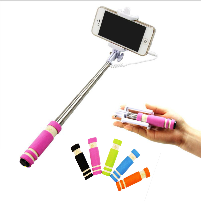 selfie camera stick self timer monopod phone holder with button mini smart phone wire rod lever. Black Bedroom Furniture Sets. Home Design Ideas