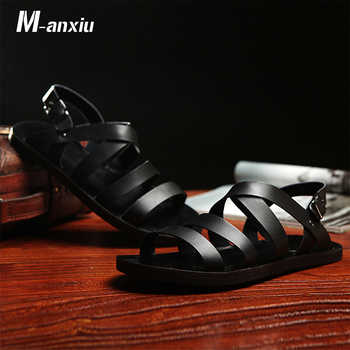M-anxiu 2019 New Design Summer Antiskid Gladiator Genuine Leather Buckle Strap Sandal Men Casual Flat Rubber shoes - DISCOUNT ITEM  15% OFF All Category