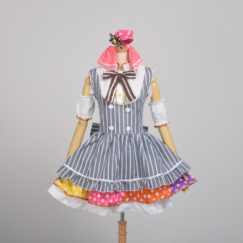 Anime Kawaii Hanayo Koizumi Cosplay Costume Love Live Lolita Striped Maid Dress Halloween Clothes