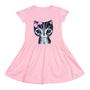2020 Hot Sale Girls Baby Cotton Short Sleeve Casual Dress Bow Cat Cartoon Print Princess Dress Casual Children's Clothing #L15