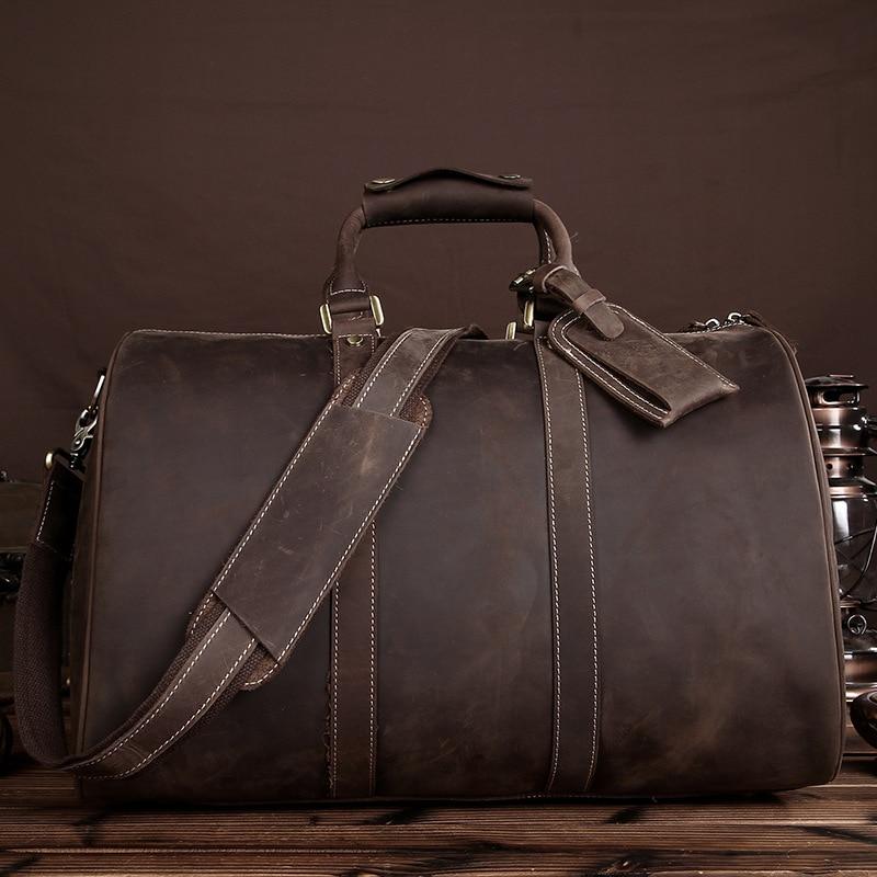 YISHEN Crazy Horse Leather Men Business Travel Bags Large Capacity Travel Duffle Men Handbags Shoulder Bags Crossbody Bag LS0226 qibolu vintage large capacity handbags men shoulder tote bag for travel business sacoche homme bolso hombre bolsa masculina 6002