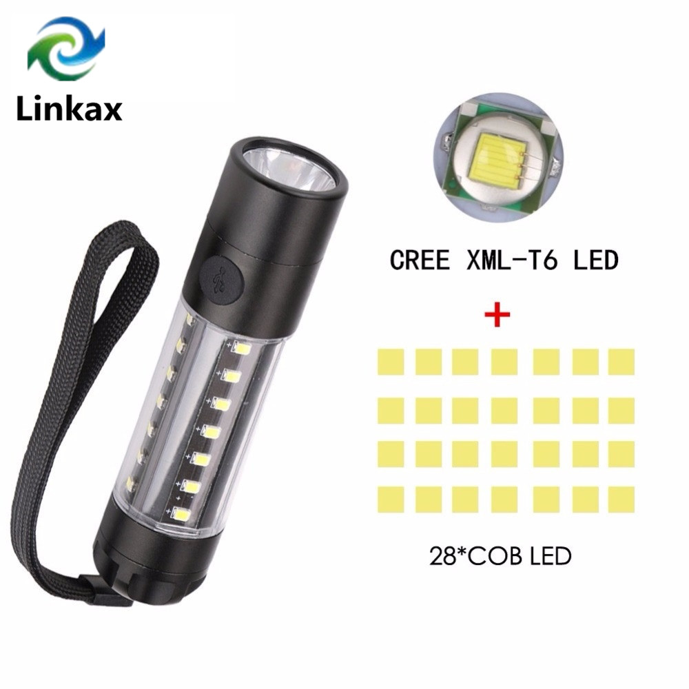 Newest CREE XML-T6/XPE +COB LED Mini Pocket Flashlight Work Light Penlight Torch Lamp High 3800Lumens 6 Modes Camping Lanterna