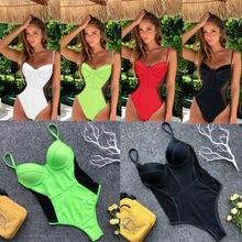 Сексуальный женский цельный купальник бикини для девушек, Одноцветный купальник с пуш-ап, монокини, купальный костюм, бандажный бикини