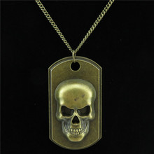Free shipping  R1926 20-2 Bronze Shield Men Skull Skeleton Pendant Chain Choker Collar Necklace 18