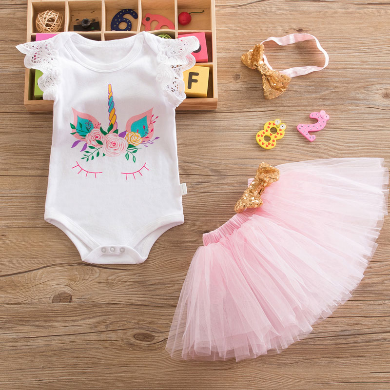 baby Girl Dress European Unicorn style Girls 1st Birthday Baptism Dress infant Girls 1 year 3pcs Party Clothes kids clothing new baby girls clothes infant 1 year 1st birthday outfits fancy unicorn party dress baby kid girl hairband rompers tutu dress