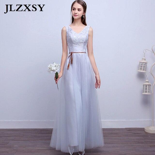 Jlzxsy nueva plata gris boda elegante barato largo Maxi Vestidos ...