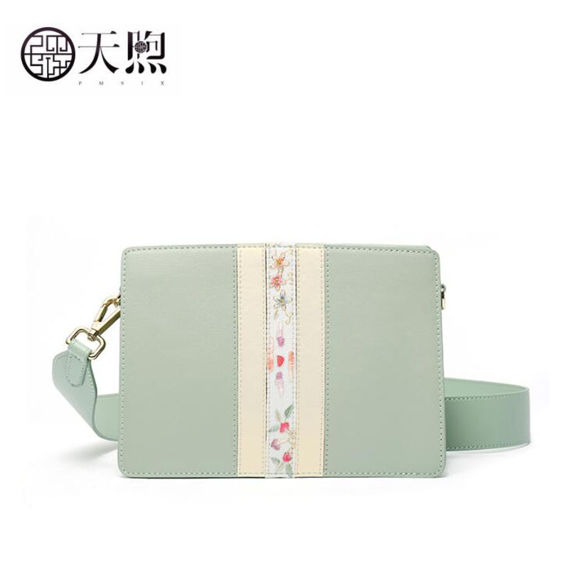 Pmsix 2020 New women  Leather bag quality Cowhide embroidery bag fashion Luxury  leather shoulder Crossbody bag