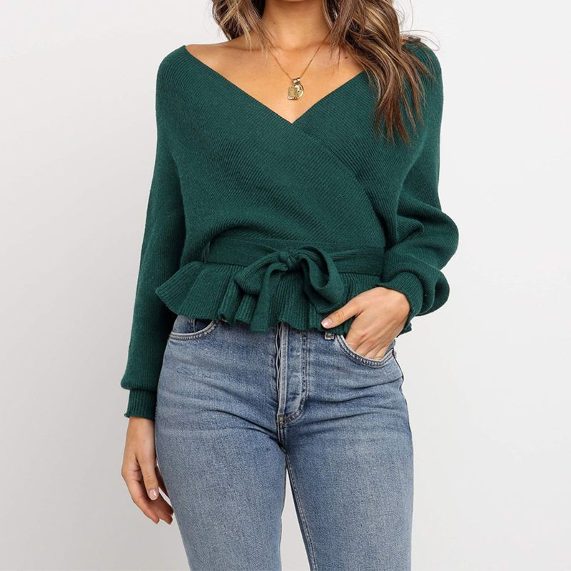 2019 Autumn Women Sexy Cross V Neck Backless Lace Up Bow-Tie Long Sleeve Ribbed Top Blouse