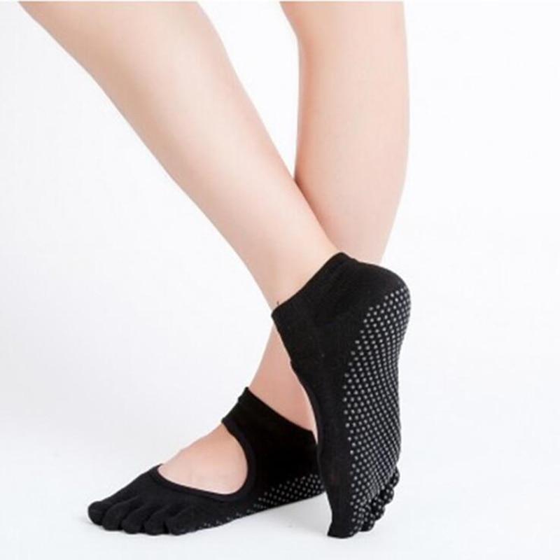 Women Yoga Socks Backless Five Fingers Socks Gym Fitness Sport Pilates Dance Ballet Non Slip 5 Toe Cotton Socks Footwear Woman