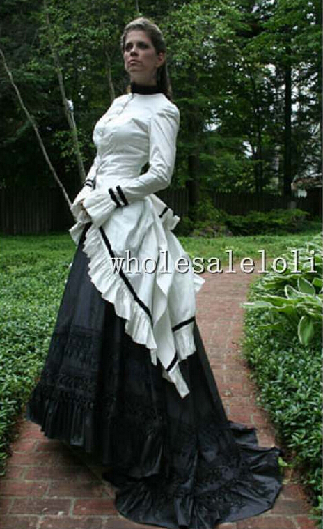 white and black gothic dress victorian bustle dress day