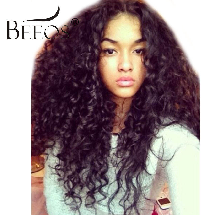 BEEOS 250% Density Lace Front Wigs Brazilian Hair 12-24 Inch Long Curly Human Hair Wigs For Women Remy Hair Natural Black