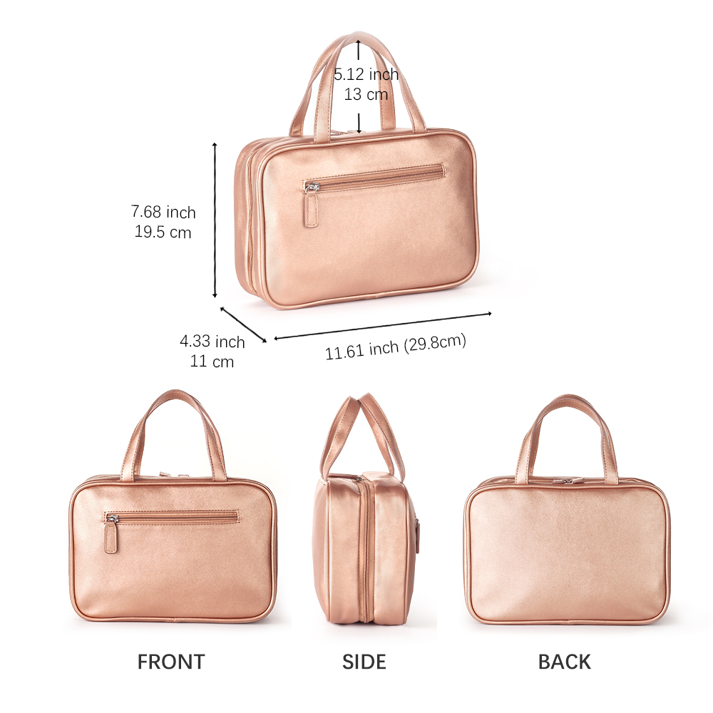 Mealivos Rose Gold Large Versatile Travel Cosmetic Bag Perfect Hanging Travel Toiletry Organizer in Cosmetic Bags Cases from Luggage Bags