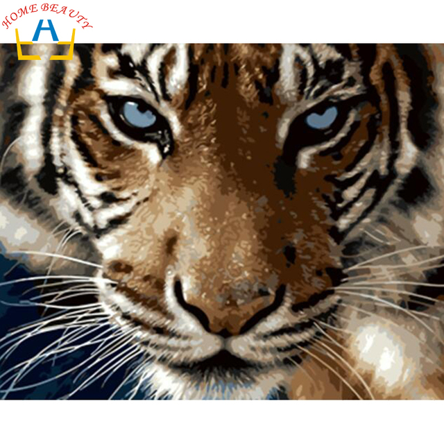 Pintura a óleo Digital Diy por números tigre imagem da decoração da parede na lona do petróleo pintura coloração pelo número desenho animais 6409