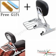 Papanda Motorcycle Aluminum Chrome Sissy Bar Adjustable Luggage Rack Backrest Pad Custom for Harley Softail 2000-later недорого