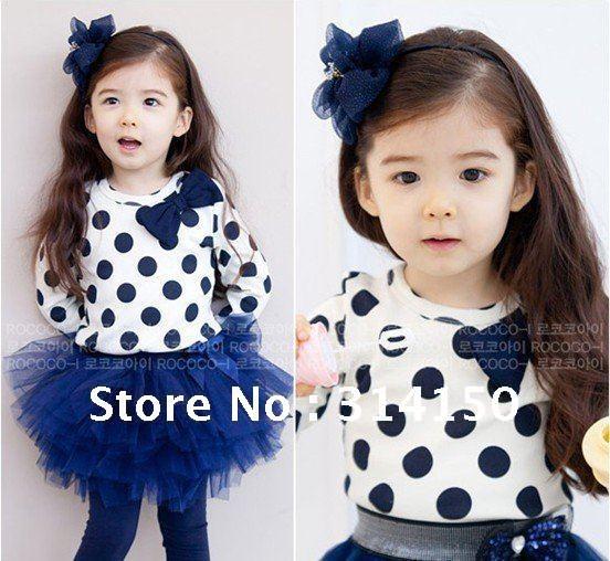 FREE SHIPPING----Children baby girls tutu skirt 2pcs suits t-shirt+skirts round dot design baby girl clothing autumn 1sets/lot