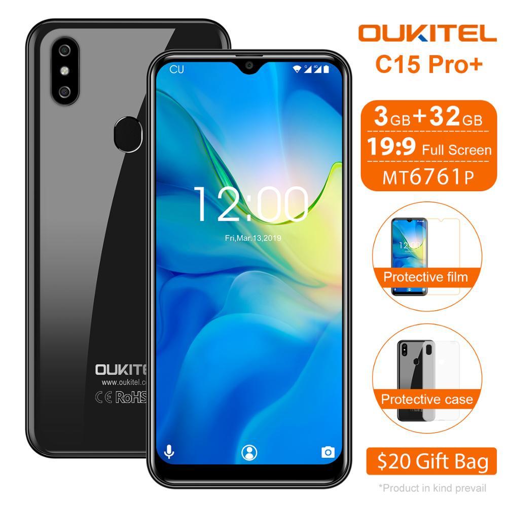 OUKITEL C15 Pro + 2.4G/5G WiFi 4G LTE Smartphone Android 9.0 MT6761 empreinte digitale Face ID goutte d'eau écran 3GB 32GB téléphone portable