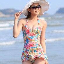 Womens Bohemia Florals Halter Monokini One-piece Swimwear Swimsuit Swimdress