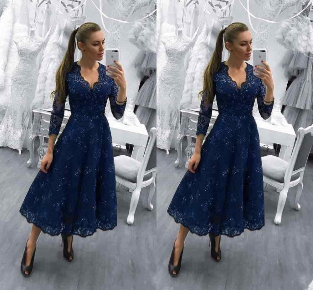 Wedding Party Dress Navy Blue A Line Lace Bridesmaid Dresses 2018 Simple Long Silvery Wedding Guest Dress For Prom Party Women Formal Dress Jq50