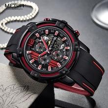 Megir Luxury Quartz Watches Men Silicone Military Sports Chronograph Stopwatch Man Wristwatch Top Brand Relogios 2097 Black Red