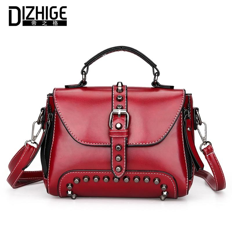 DIZHIGE Brand Fashion Rivet Crossbody Bags Women Flap Tote Vintage Oil Leather  Women Handbags Designer Ladies Hand Bags New 2018 6ce4d71f46