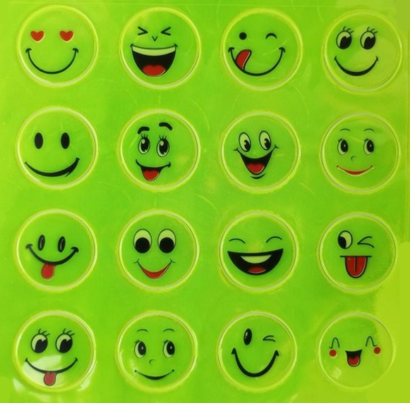 1 Sheet Funny Smiling Face Bicycle Bike Reflective Sticker  Night Riding Safety Sticker Decoration Bicycle Access 2