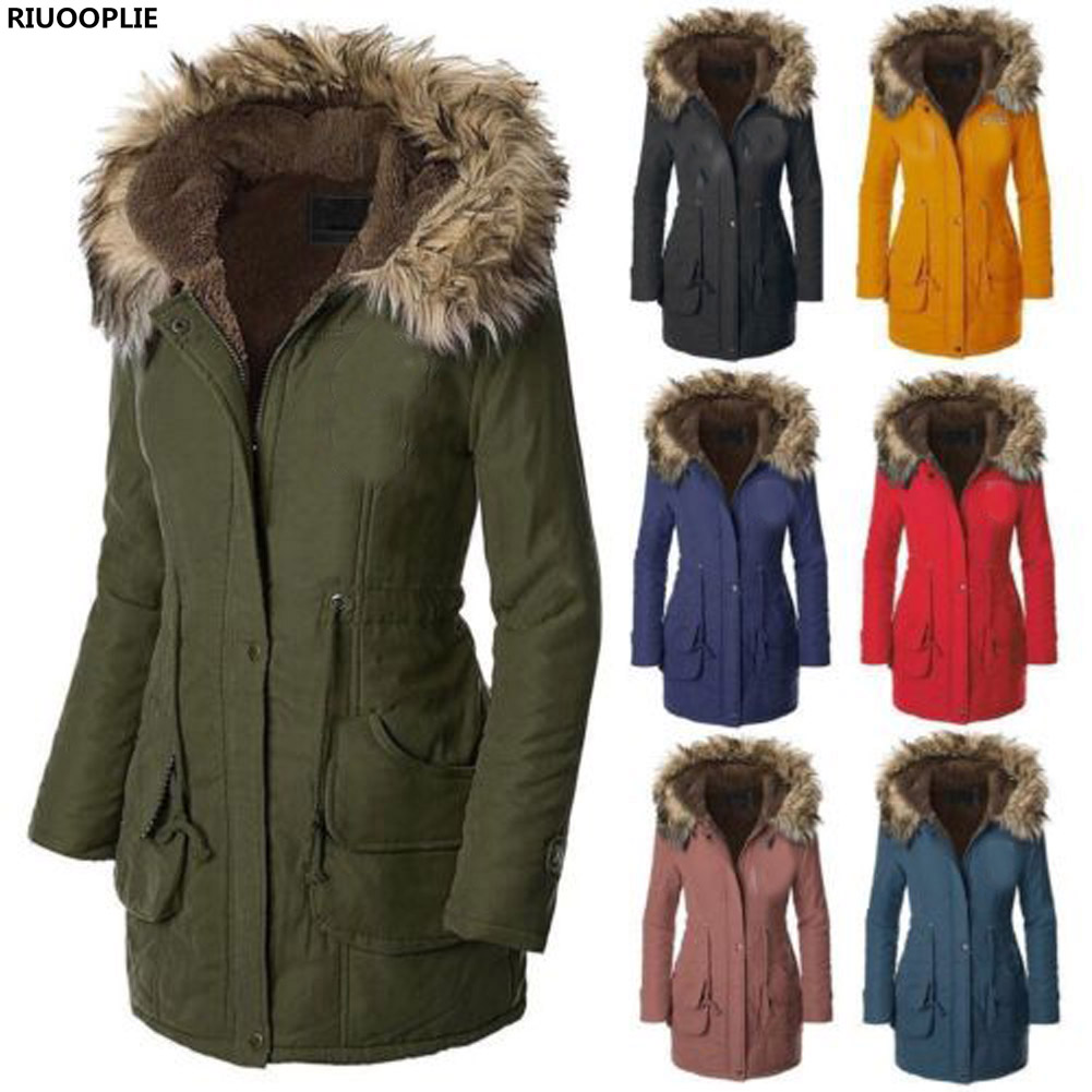 RIUOOPLIE Womens Fur Collar Hooded Quilted Jacket Cotton Coat Slim Winter Long Outwear marina rinaldi by max mara womens plus quilted long sleeves coat