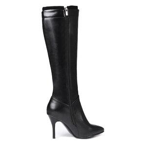 Image 4 - 黒、白のジッパーニーハイブーツ女性ハイヒール秋冬ロングブーツ靴