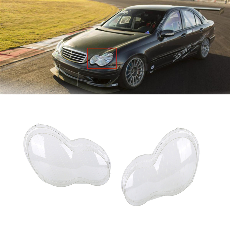 1Pair car headlight glass cover Left Side & Right Side Cover headlight cover For Benz W203 C-Class 00-04 car styling accessories