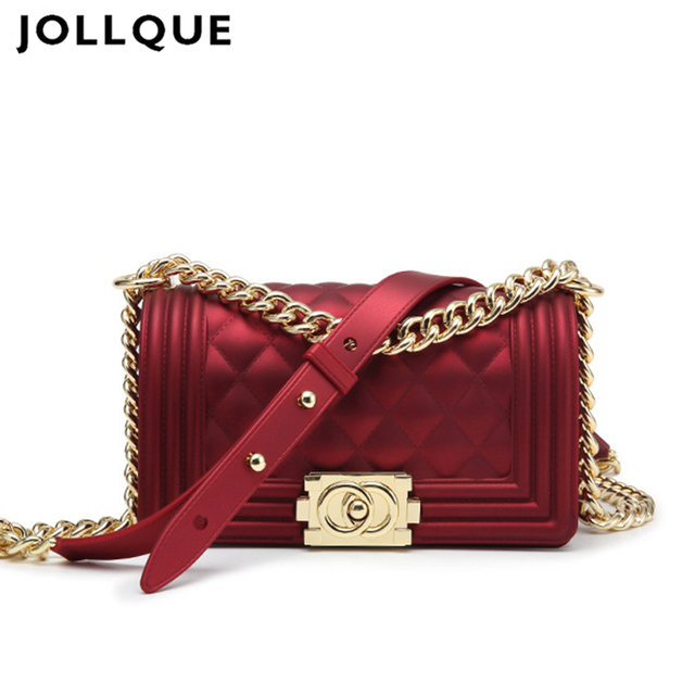 Jollque Europe Summer Matte Purse Frosted Black Women Jelly Bag Ling Grid Chain Messenger Mini