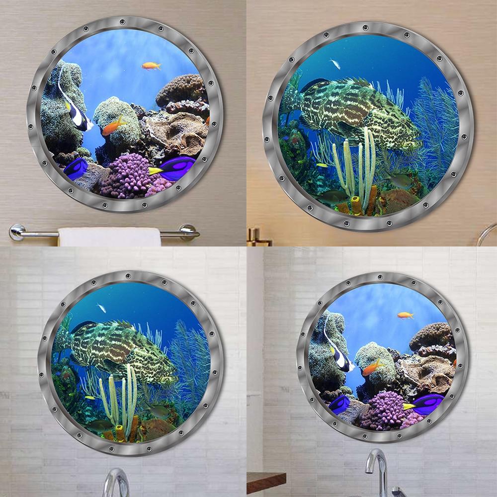 Hot Sale Fish Ocean View Windows Wall Door Stickers For Washing Machine Door Decor Wall Decal