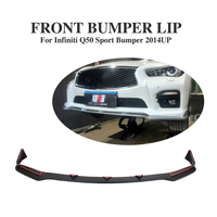 PU Black Painted front bumper lip spoiler for infiniti Q50 sport bumper 2014 2017 Front bumper guard Car accessories