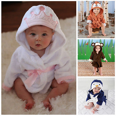 Unisex Lovely Animal Style Baby Bathrobe Hooded Bath Towel Infant Bathing