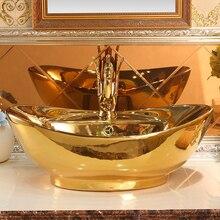 Lavabo de cerámica de estilo antiguo, Europeo, lavabo de baño con encimera superior, lavabo de mano ovalado dorado